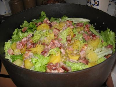 La recette de la salade au lard la ferme du perr 51la for Cuire une sole avec la peau