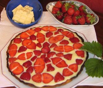 Recette de fraises, tarte chocolat blanc et fraises, Ferme du Perré, Escalavolles Lurey, Marne, 51